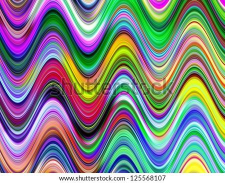 Vibrant multicolored waves illustration.