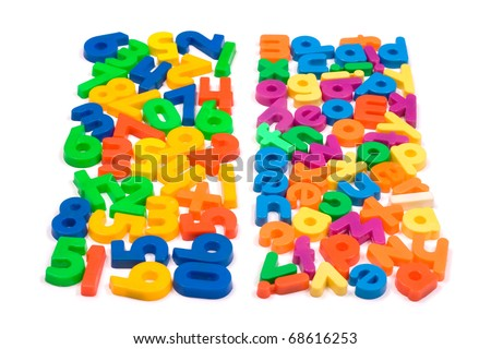 Vibrant numbers and letters isolated on a white background.