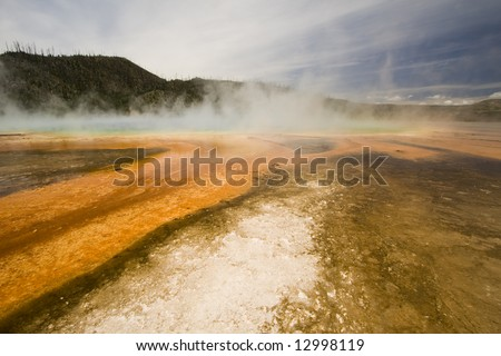 Vibrant orange colors of Grand Prismatic Spring in Yellowstone National Park.