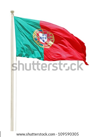vibrant portuguese flag on a white pole isolated on white background