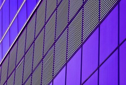 vibrant purple lines pattern detail of modern building