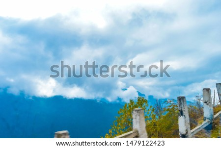Vibrant storm clouds background with tiny clouds floating in the Sky in sunset time. Natural sky composition. Tranquil Scene Tranquility Concept. Seasonal Design element. Copy space room for text #1479122423