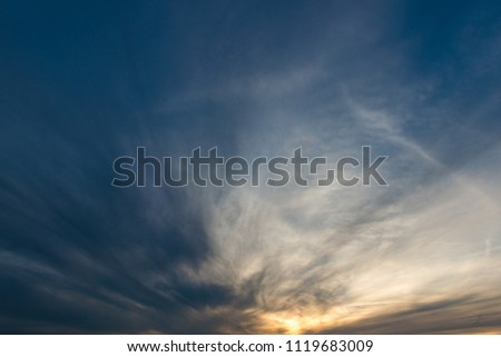 Vibrant sunset sky with dynamic clouds. #1119683009