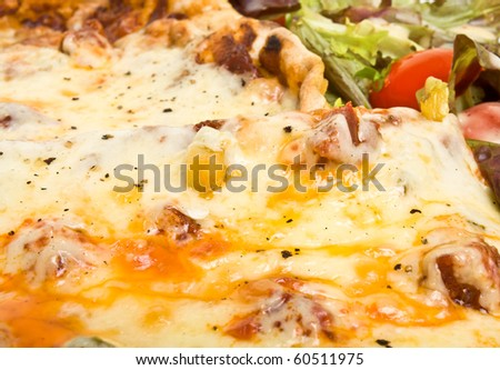 Vibrant tasty looking home made pizza and salad with dressing.