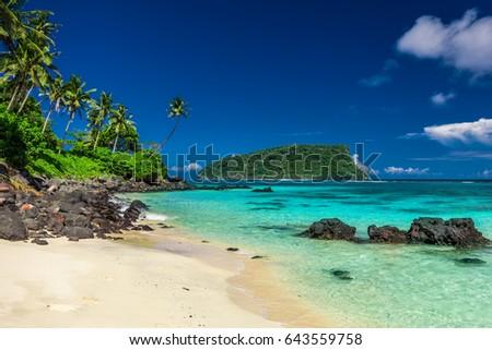 Vibrant tropical Lalomanu beach on Samoa Island with coconut palm trees and black rocks