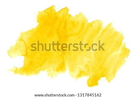 Vibrant Yellow watercolor abstract background, stain, splash paint, stain, divorce. Vintage paintings for design and decoration. With copy space for text. #1317845162