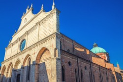 Vicenza Cathedral Cattedrale di Santa Maria Annunziata Roman Catholic church building in Piazza del Duomo square, old historical city centre of Vicenza city, blue sky background, Veneto region, Italy