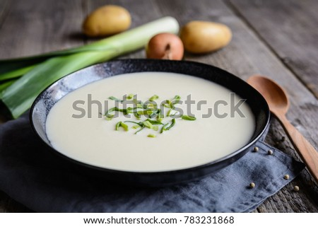 Photo of  Vichyssoise - traditional French soup made of leek, potato and onion