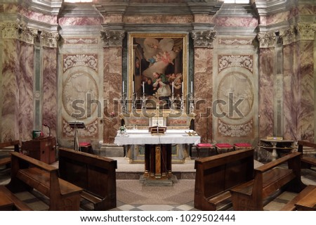 Vicoforte, Italy   September, 22nd, 2017. Interiors Of Sanctuary Of  Vicoforte (