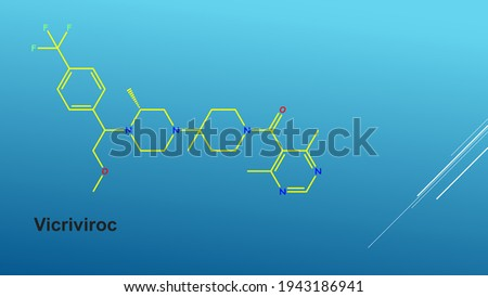 Vicriviroc, previously named SCH 417690 and SCH-D, is a pyrimidine CCR5 entry inhibitor of HIV-1 Stock foto ©