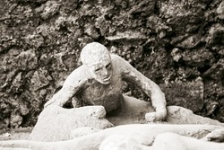 Victim in Pompeii of the eruption of Mt Vesuvius