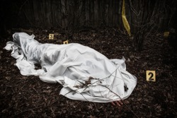 Victim of a violent crime under a sheet in a rural yard. With evidence markers.
