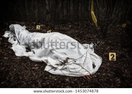 Victim of a violent crime under a sheet in a rural yard. With evidence markers. Foto stock ©