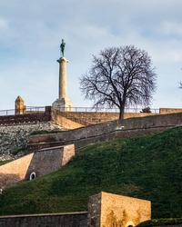Victor monument on the Kalemegdan fortress in Belgrade, capitol of Serbia, in the morning light