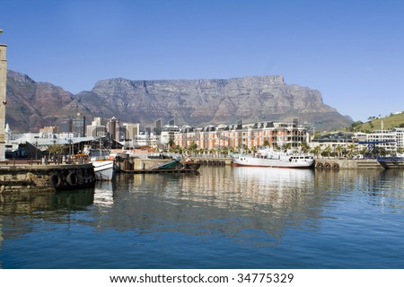 Victoria and Alfred Waterfront harbour and Table Mountain in Cape Town, South Africa #34775329