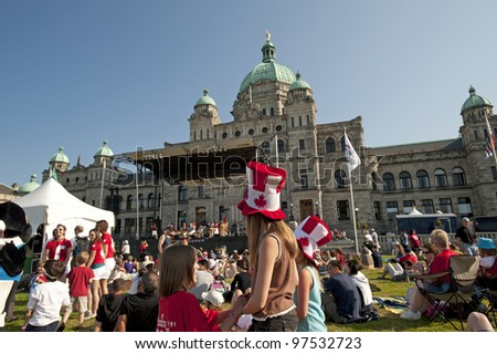 VICTORIA, B.C. - JULY 1, 2008: Canada Day celebration was provided in the front of British Columbia's Parliament Building in the Inner Harbour. July 1, 2008 in Victoria, British Columbia, Canada