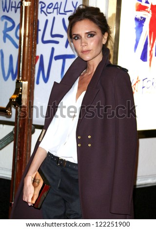 Victoria Beckham arriving for VIVA Forever Spice Girls the Musical held at the Piccadilly Theatre. 11/12/2012 Picture by: Henry Harris