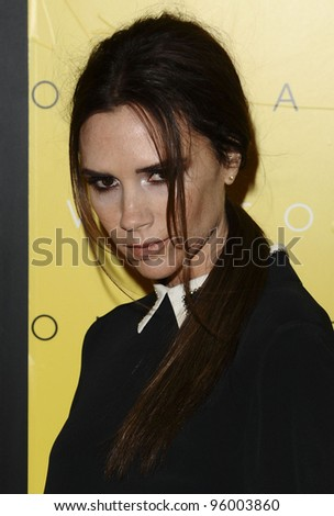 Victoria Beckham at the launch of Victoria, Victoria Beckham at Harvey Nichols, Knightsbrige, London. 17/02/2012 Picture by: Steve Vas / Featureflash