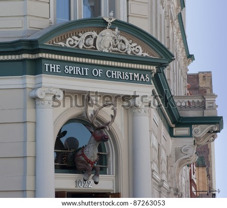 VICTORIA, CANADA - AUGUST 02: Christmas Store with an old-fashioned store sign and a fake deer over the entrance reopens after renovation in Victoria, Canada on August 02, 2005.