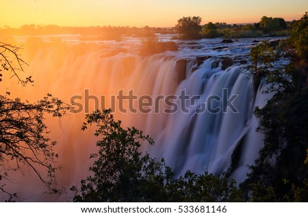 Victoria Falls at sunset. Zambia  #533681146