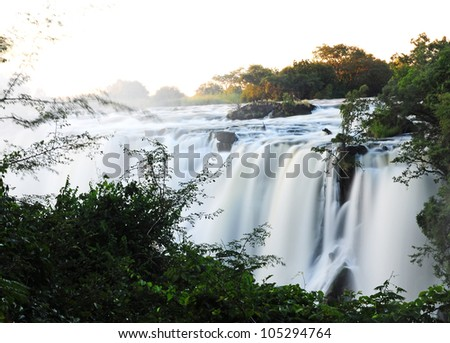 Victoria Falls in the sunset time, Livingstone, Zambia