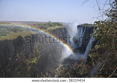 Victoria Falls in the Zambezi River in Zambia - stock photo