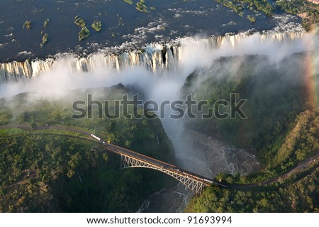 victoria falls on helicopter ストックフォト ©
