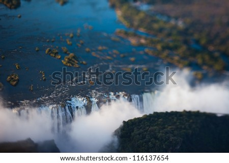 Victoria Falls seen from the air, Zambia/Zimbabwe - stock photo