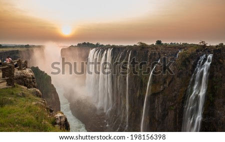Victoria Falls sunset, View from Zambia ストックフォト ©
