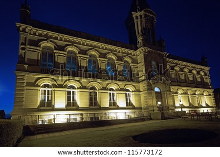 Victoria Hall, Saltaire, Bradford, West Yorkshire at night