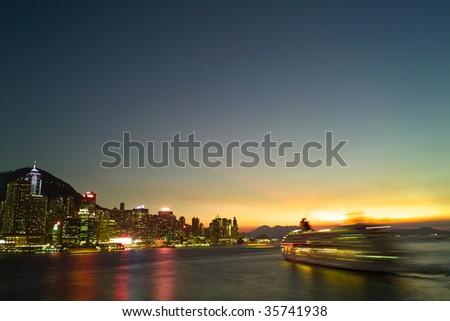 Victoria harbour under sunset, Tsam Sha Thsui, Hong Kong, China