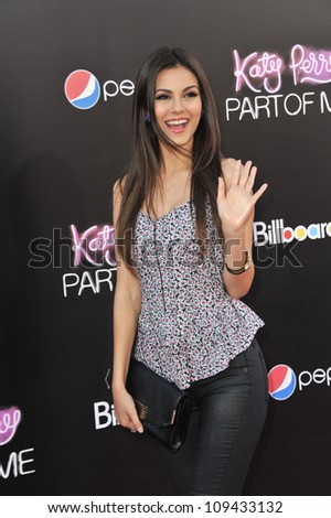 "Victoria Justice at the Los Angeles premiere of ""Katy Perry: Part of Me"" at Grauman's Chinese Theatre, Hollywood. June 27, 2012  Los Angeles, CA Picture: Paul Smith / Featureflash"