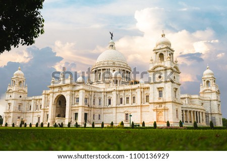 Victoria Memorial Kolkata at sunset with vibrant moody sky in the background. Victoria Memorial is a monument and museum built in the memory of Queen Victoria in 1921 at Kolkata in India Сток-фото ©