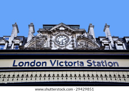 Victoria Railway / Bus station sign, London, UK