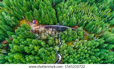 Victoria's Abandoned Railway Trestles Aerial Photo  - Todd Creek Trestle Restoration process  in  Sooke Potholes Park   Stock fotó ©