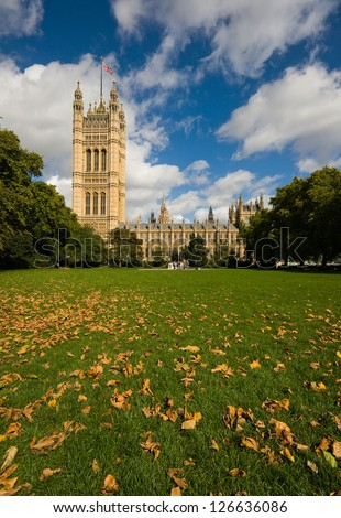 Victoria Tower of The Houses of Parliament in London, UK - autumnal daylight photo