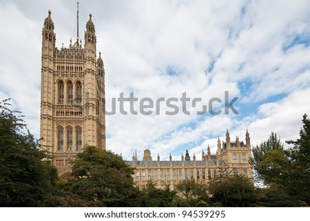 Victoria Tower of the Palace of Westminster (Houses of Parliament), London, UK