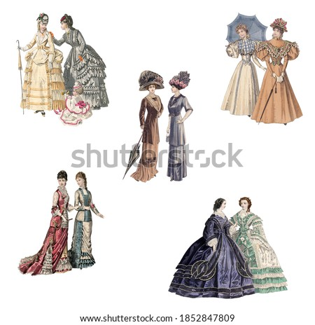 Victorian and edwardian Ladies in fashionable dresses of the time