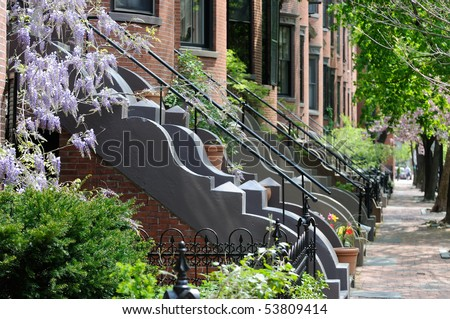 Victorian architecture of Boston South End residential district. Classic, elegant row house apartments