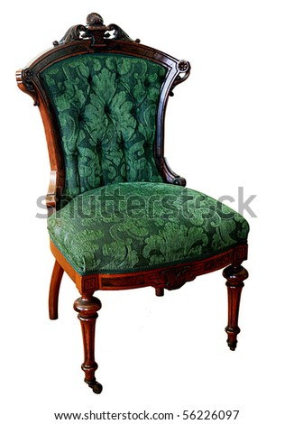 Victorian chair from an 1874 parlor set made in Philadelphia by A and H Lejambre isolated on white