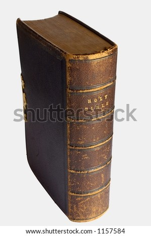 Victorian family bible, isolated on white.