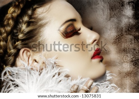Victorian fashion woman with braids, white feathers, red fantasy lashes and scarlet lipstick on grunge background ? my design