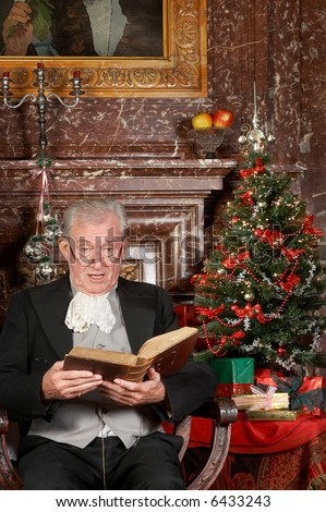Victorian Grandfather Reading The Christmas Story. Shot In The ...