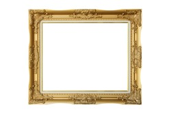 Victorian old frame. Classical Gold Picture Photo Frame on isolated white background with clipping path.