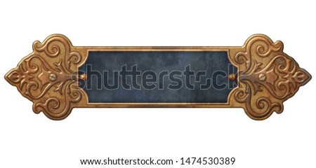 Victorian ornate frame with blue and copper motif 3D illustration
