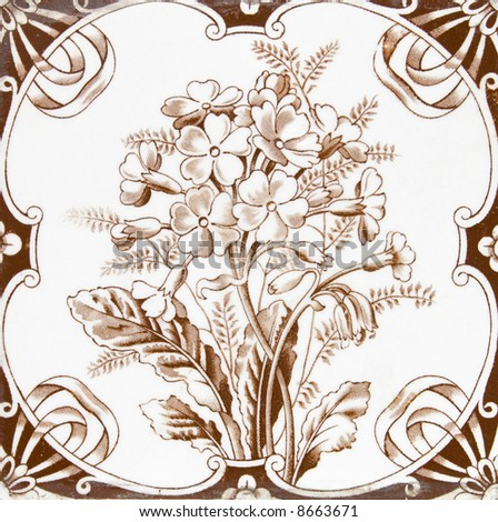 Victorian period decorative arts printed tile in sepia tone