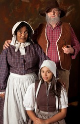 Victorian portrait of a colonial peasant family of the 17th century