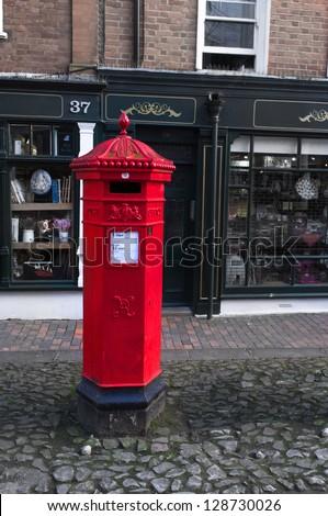 Victorian post box in the pantiles, Tunbridge Wells, UK