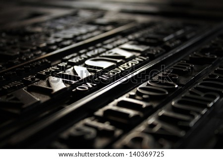 Victorian printing Press Letters Stock photo ©