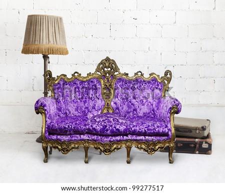 victorian sofa in white room ,,interior design